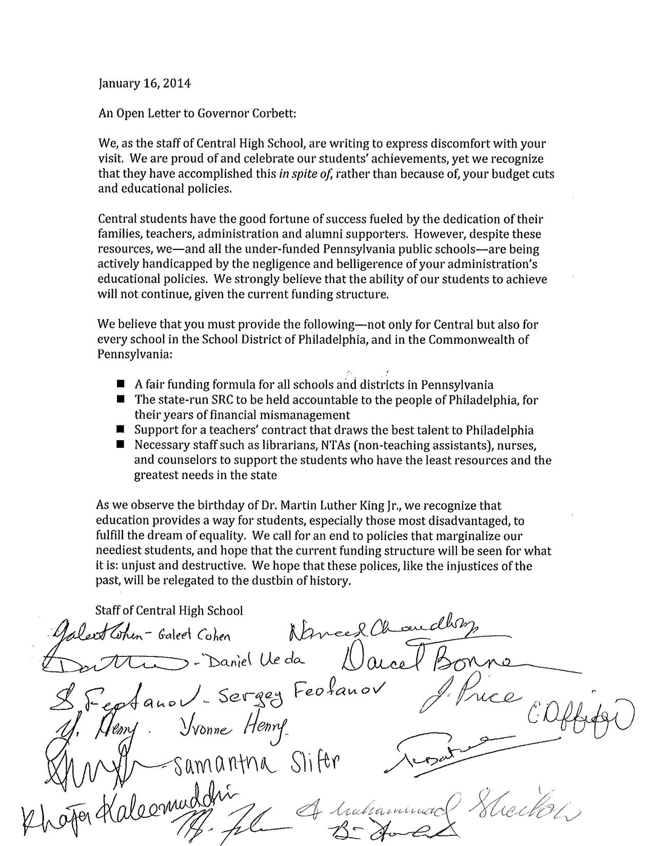 Open Letter for Governor Corbett from Central Staff | Philadelphia